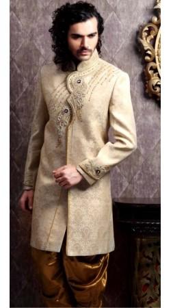 IBDT114346 Dark Cream Groom Dhoti Style Sherwani