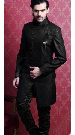 IBDT114373 Black Groom Designer Suit