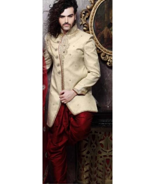 IBDT114377 Dark Cream and Dark Red Groom Dhoti Style Sherwani