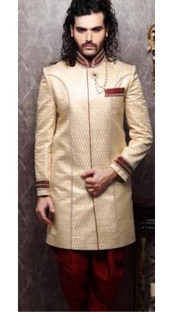IBDT114388 Dark Cream and Dark Red Groom Dhoti Style Sherwani