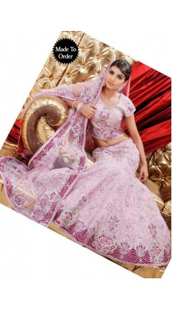 IBRSWL43 Light Pink Pure Georgette Base Wedding Fish Tail Lehnga