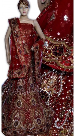 RB149143 Red Shimmer Wedding Lehenga