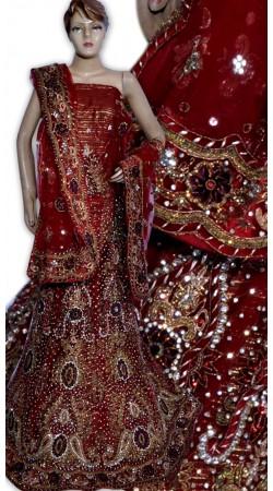 RB149143 Red Shimmer Wedding Lehenga