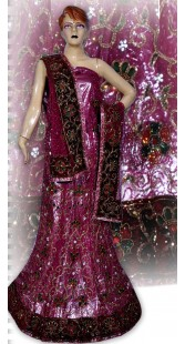 RB149145 Dark Pink Shimmer Wedding Lehenga