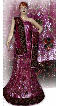 RB149145 Dark Pink Shimmer Wedding Lehenga