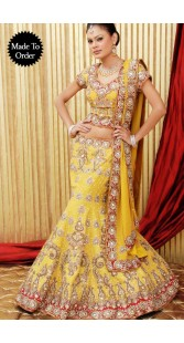 IBRSWL46 Yellow And Red Pure Georgette Base Wedding Fish Tail Lehnga