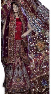 RB149149 Red And Maroonish Magenta Shimmer Wedding Lehenga