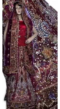 RB149149 Red And Maroonish Magenta Shimmer Wedding Lehenga
