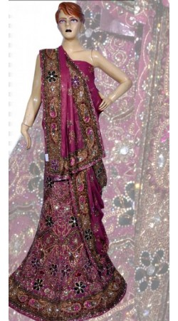 RB149150 Dark Pink Shimmer Wedding Lehenga