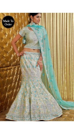 IBRSWL50 Light Golden Pure Raw Silk Base And Net Dupatta Wedding Fish Tail Lehnga