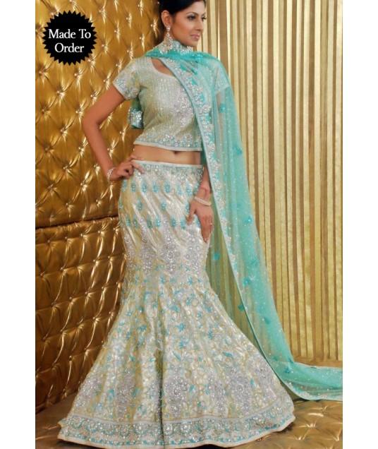 IBRSWL50 Light Golden Pure Raw Silk Base And Net Dupatta Wedding Fish Tail Lehnga