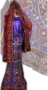 RB149151 Blue Shimmer Wedding Lehenga