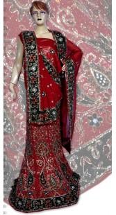 RB149152 Red Shimmer Wedding Lehenga