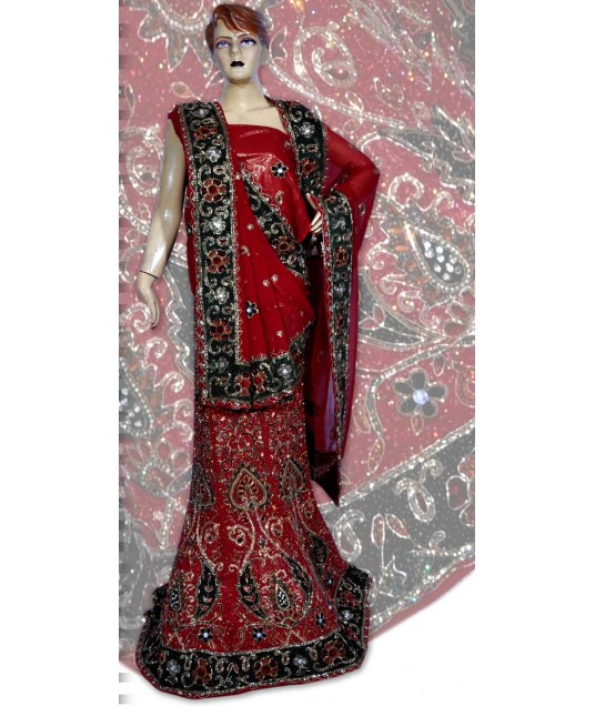 RB149152 Red Shimmer Wedding Lehenga