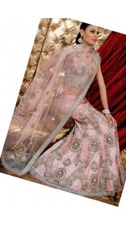 IBRSWL53 Light Pink Pure Georgette Base Net Dupatta Wedding Fish Tail Lehnga
