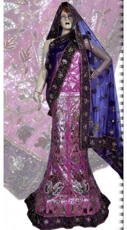 RB149154 Purplish Pink Shimmer Wedding Lehenga
