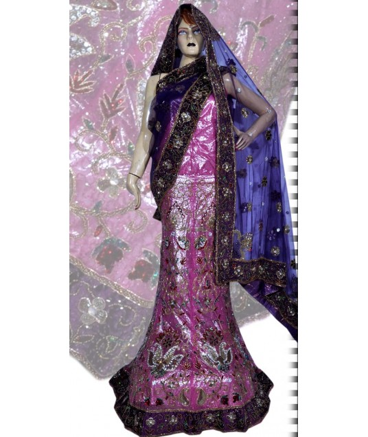 RB149154 Purplish Pink Shimmer Wedding Lehenga