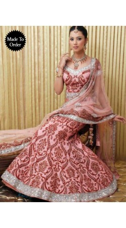 IBRSWL54 Onion Pink Pure Georgette Base Net Dupatta Wedding Fish Tail Lehnga