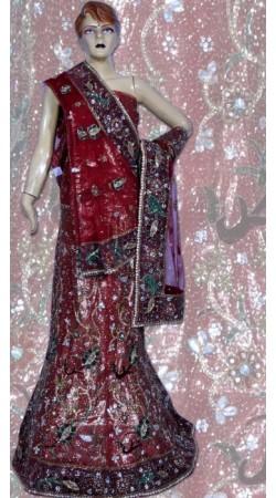 RB149155 Dark Red Shimmer Wedding Lehenga