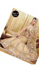 IBRSWL57 Natural  Net Wedding Fish Tail Lehnga