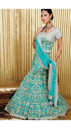IBRSWL58 Blue Pure Georgette Base Net Dupatta Wedding Fish Tail Lehnga
