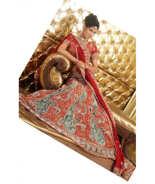 IBRSWL59 Red Pure Silk Base With Net Dupatta. Wedding Fish Tail Lehnga