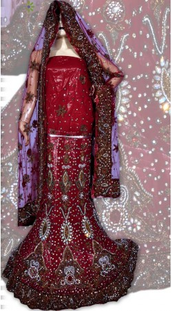 RB149159 Red Shimmer Wedding Lehenga