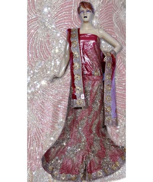 RB149162 Pinkish Red Shimmer Wedding Lehenga