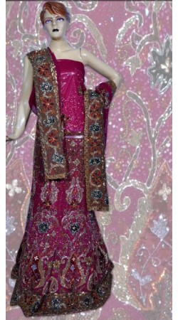 RB149163 Dark Pink Shimmer Wedding Lehenga