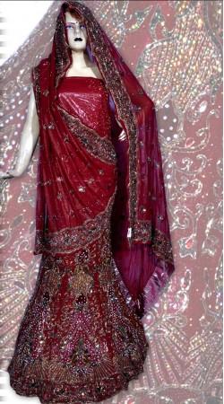 RB149164 Red Shimmer Wedding Lehenga