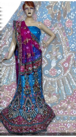 RB149165 Light Blue Shimmer Wedding Lehenga