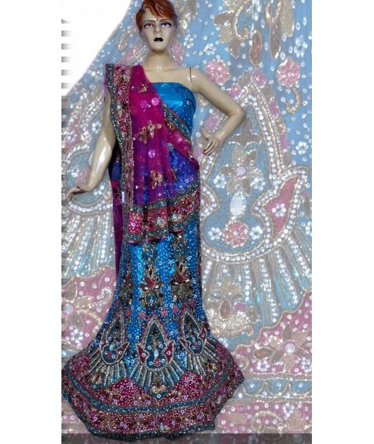 RB149165 Light Blue Shimmer Wedding Lehenga