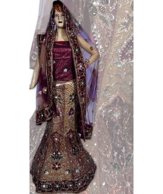 RB149166 Beige And Dusty Red Shimmer Wedding Lehenga