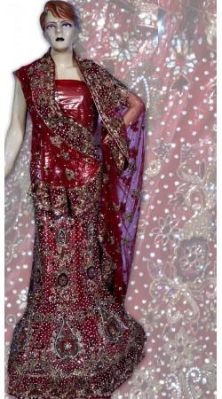 RB149167 Red Shimmer Wedding Lehenga