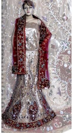 RB149168 Off White Shimmer Wedding Lehenga