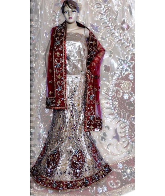 RB149168 Off White Shimmer Wedding Lehenga