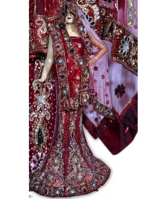 RB149169 Red Shimmer Wedding Lehenga
