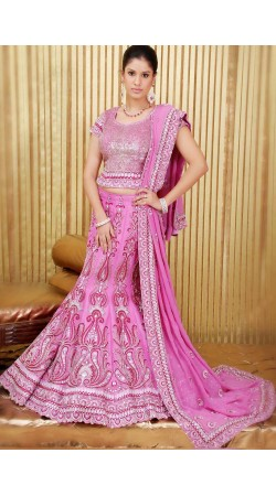 IBRSWL70 Rosy Pink Pure Silk Base With Georgette Dupatta. Wedding Fish Tail Lehnga