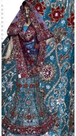 RB149170 Firozi Shimmer Wedding Lehenga