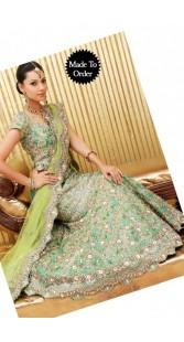 IBRSWL71 Green Pure Silk Base With Net Dupatta. Wedding Fish Tail Lehnga