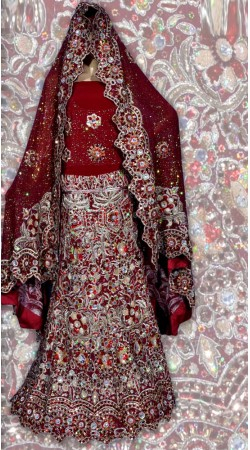 RB149172 Dark Red Shimmer Wedding Lehenga