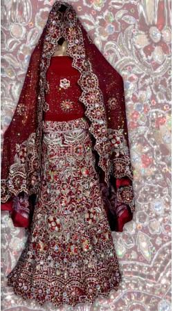 RB149172 Dark Red Shimmer Wedding Lehenga