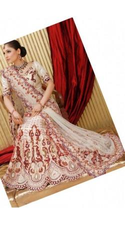 IBRSWL72 Cream Pure Silk Base With Net Dupatta. Wedding Fish Tail Lehnga