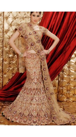 IBRSWL74 Natural Pure Silk Base With Net Dupatta. Wedding Fish Tail Lehnga