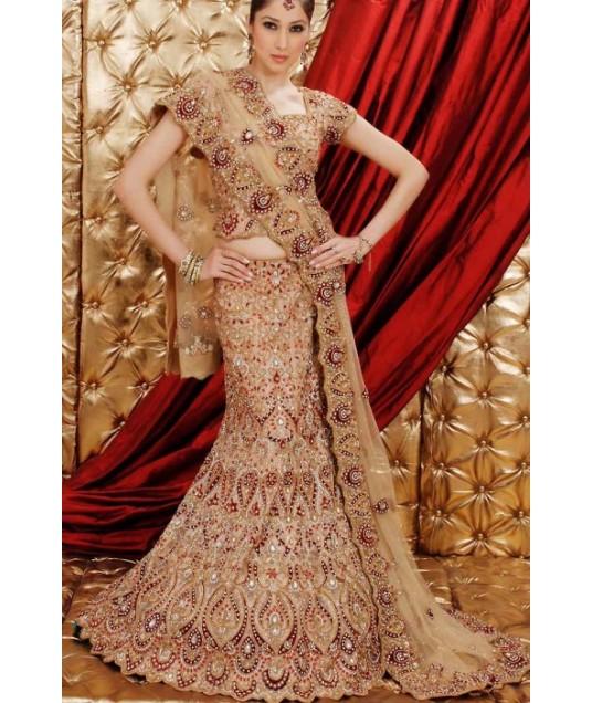IBRSWL74 Natural Pure Silk Base With Net Dupatta. Wedding Fish Tail Lehnga