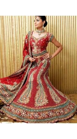 IBRSWL76 Red Pure Silk Base With Net Dupatta. Wedding Fish Tail Lehnga