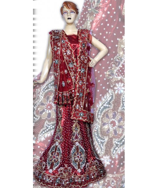 RB149195 Red Silk Shimmer Wedding Lehenga