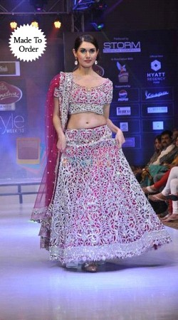 Lovely Baby Pink Net And Silk Designer Embroidered Replica Lehenga Choli BP00103
