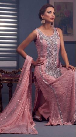 Mauve Fancy Fabric Georgette Long Length Parallel Pant Suit SU8001