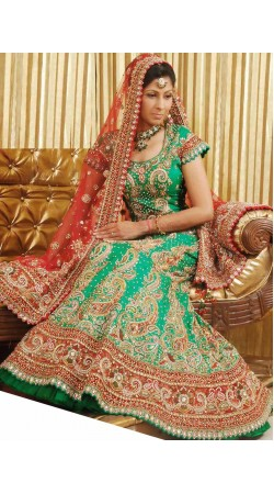 IBRSWL55 Green Pure Silk Base With Net Dupatta. Wedding Fish Tail Lehnga